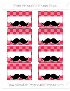 Amaranth Pink Checker Pattern  Mustache Name Tags