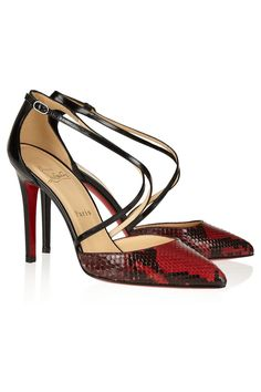 CHRISTIAN LOUBOUTIN  Crosspiga 100 python and leather pumps