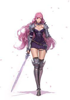 ArtStation - pretty girl, Junq Jeon Character Concept, Character Art, Character Design, Concept Art, Character Creation, Fantasy Characters, Female Characters, Fantasy Warrior, Fantasy Art