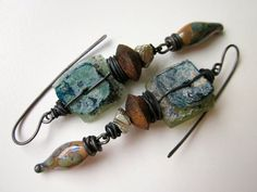 It Ain't Gonna Rain Anymore - primitive assemblage iridescent teal brown lampwork glass, ancient Roman glass, wood, pyrite, & copper earring by LoveRoot