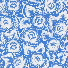 A colourful monotone stylised floral pattern influenced by Mexican folk art. Printed on a heavyweight and washable paper. Blue Wallpapers, Mexican Folk Art, Designers Guild, Black Wallpaper, Designer Wallpaper, Coastal Decor, Shades Of Blue, Print Patterns, Design Inspiration