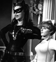 "Julie Newmar as Catwoman and Lesley Gore as her sidekick Pussycat in the television series ""Batman"" which began in Real Batman, Batman Y Robin, Batman 1966, Julie Newmar, James Gordon, Lesley Gore, Burt Ward, Fictional Heroes, Batman Tv Series"