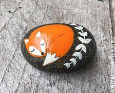 Painted Rock ideas - Fox Rock - Folk Art - Kindness Rocks Project - Painted Rock Ideas- #makekindnessrock