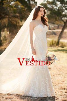 2017 vestidos de boda de la sirena del amor con apliques de tul tribunal tren