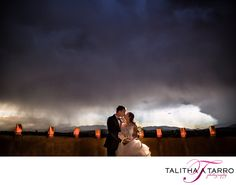Paper Lanterns at Wedding. Unique Wedding Photography. Creative Wedding Ideas. Bride and Groom Kiss. Night Photography. Dramatic Skies.