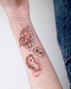 Disney Tattoos Klein, Disney Tattoos Small, Disney Sleeve Tattoos, Small Tattoos, Mini Tattoos, Body Art Tattoos, Disney Tattoos Beauty And The Beast, Tattoo Wallpaper, Mirror Tattoos