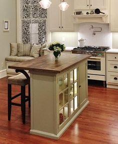 There is no question that designing a new kitchen layout for a large kitchen is much easier than for a small kitchen. A large kitchen provides a designer with adequate space to incorporate many convenient kitchen accessories such as wall ovens, raised. Kitchen Island With Seating, Diy Kitchen Island, Kitchen Redo, New Kitchen, Kitchen Cart, Kitchen Ideas, Island Bench, Kitchen Designs, Island Table