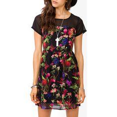 FOREVER 21 Paneled Floral Dress ($20) via Polyvore