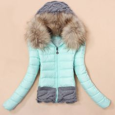 Stylish Hooded Knitted Splicing Long Sleeve Women's Down Coat, LIGHT BLUE, L in Jackets & Coats | DressLily.com