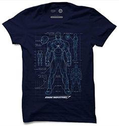 f91325697e The Souled Store Iron Man: Armour Blue Print Superhero Printed Premium NAVY  BLUE Cotton T-shirt for Men Women and Girls
