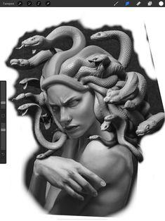 Medusa Art, Medusa Gorgon, Medusa Tattoo, Filigree Tattoo, Gothic Tattoo, God Tattoos, Body Art Tattoos, Greek God Tattoo, Ozzy Tattoo