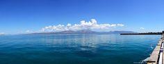 Panoramic Photo from the Harbor of Oropós, Greece (5 merged shots, without editing or color manipulation) The mountain in front is Erétria, Greece — in Skala Oropou.