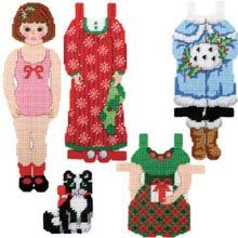 Plastic Canvas: Holly & Mittens Paper Doll  - Herrschners