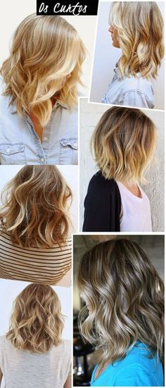 """Long + Bob = The Lob. Very cute wavy """"lob"""" hairstyles! And very pretty, natural-looking blonde color, too."""