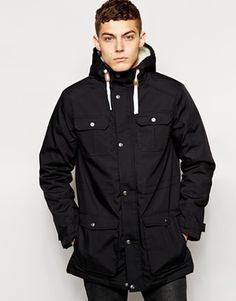 !Solid Solid Parka With Fleece Lined Hood - Black