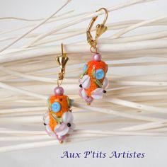 """boucles d'oreilles, perle au chalumeau """"Botanique 24"""" de la boutique AuxPetitsArtistes2 sur Etsy"""
