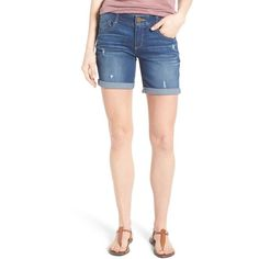 Women's Wit & Wisdom Ab-Solution Bermuda Denim Shorts ($58) ❤ liked on Polyvore featuring shorts, blue, petite, destroyed bermuda shorts, bermuda shorts, stretch denim shorts, destroyed jean shorts and distressed shorts