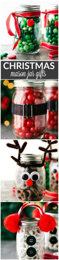 Four easy and creative mason jar CHRISTMAS treat gift ideas. A grinch jar, santa jar, reindeer jar, and snowman jar! Via http://chelseasmessyapron.com