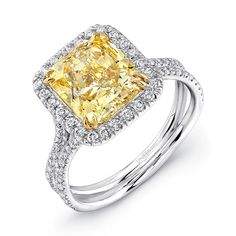 Natureal Collection Platinum and 18K Yellow Gold Radiant-Cut Fancy Yellow Diamond Engagement Ring LVS876 - This ring features a gorgeous platinum and 18K yellow gold split shank setting with perfect GIA certified SI1 radiant-cut fancy yellow diamond with a total weight of  3.50 carats.  The ring is complimented with 100 round white diamond side stones with a total weight of 0.55 ct.