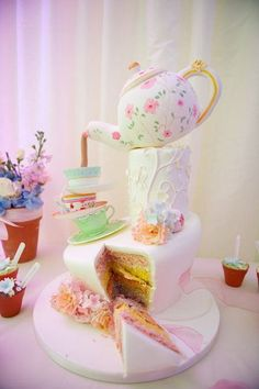 Tea Party Cake: Perfect for a charming ceremony that falls some where in between a wedding and a tea party. With a cake like this, don't be surprised if you got an unexpected visit from the mad hatter. (via Cakes Decor) Crazy Cakes, Crazy Wedding Cakes, Creative Wedding Cakes, Fancy Cakes, Creative Cakes, Pink Cakes, Pretty Cakes, Cute Cakes, Beautiful Cakes