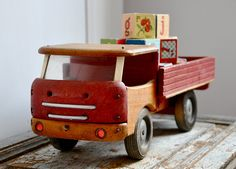 Wooden Toy Truck.  How we love wooden toys!!