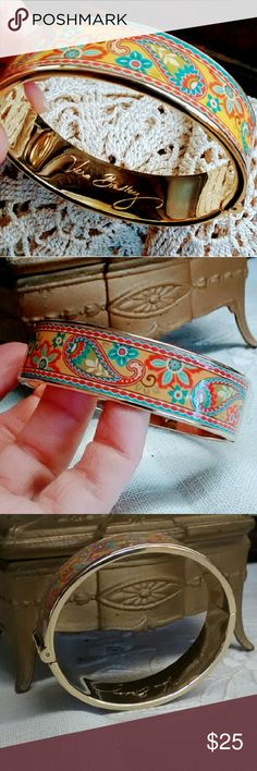 Vera Bradley Paisley Hinged Bangle Beautiful Paisley signed Vera Bradley bangle. Hinged for easy on + off... Elliptical rather than round shape is super comfortable + easy to wear. No signs of wear. I do not have original box. Vera Bradley Jewelry Bracelets