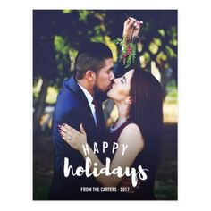 Happy Holidays Sketched Personalized Photo Postcard - merry christmas postcards postal family xmas card holidays diy personalize