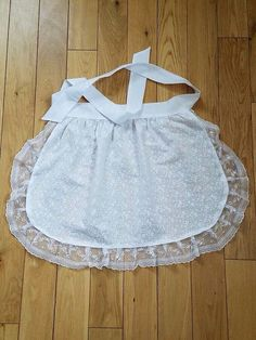 Small White Cotton ruffle apron, Holiday gift for Small Girl French Maid apron, House warming gift for Her, Old Fashioned White Cotton apron by blingscarves. Explore more products on http://blingscarves.etsy.com