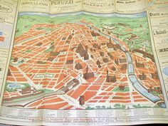 Map of Florence Italy 1950s Travel Brochure Ad by PlantsNStuff, $17.00