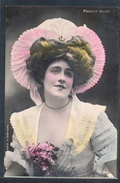 PG156-ARTIST-STAGE-STAR-Florence-WARDE-Large-HAT-Tinted-PHOTO-pc-DOVER