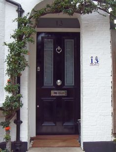 London Doors, Front Door, Victorian / Edwardian Door - slightly warm paint colour would be nice, but this is the sort of thing we want Entrance Design, Entrance Doors, Door Design, House Design, Black Front Doors, Front Door Colors, Front Door Decor, Front Door Lighting, Porch Lighting