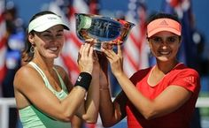 Prime Minister Narendra Modi today congratulated Sania Mirza and her Swiss partner Martina Hingis on winning the US Open women's doubles title.
