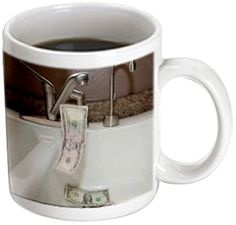 A White Porcelain Kitchen Sink with Five and Two One Dollar Bills Falling Into It Down The Drain Magic Transforming Mug, Dollar Bills, One Dollar, Porcelain Kitchen Sink, White Porcelain, Magic, Amazon, Tableware, Dinnerware, Riding Habit
