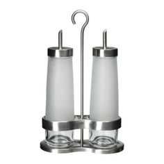 Droppar. Oil & vinegar set, frosted glass and stainless steel. See Ikea Hacks - someone created outdoor torches from an Ikea oil and vinegar set - maybe try that hack with this set instead?