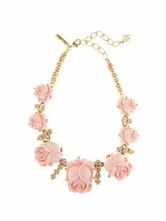 RESIN ROSE NECKLACE, $595.00... now you know you can duplicate this look... even with silk roses! How pretty and feminine.