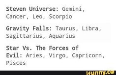 Virgo  but that's mainly true but I like Steven universe too but I'm obsessed with Star vs the forces of evil