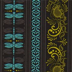 Michael Miller fabric turquoise dragonflies & ornaments 1