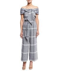 Plaid+Linen-Blend+Blouse+&+Cropped+Plaid+Wide-Leg+Pants+by+Suno+at+Neiman+Marcus.