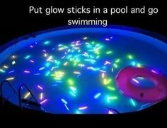 Glow sticks + night swimming = AWESOME. If you've got a pool, try it this summer, you. will. love it.