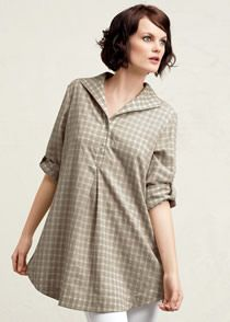 Plus-Size Shadow Check Shirting Jaylen Blouse