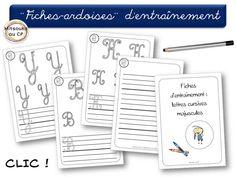 Suite des fiches-ardoises pour l'entraînement à l'écriture : les majuscules cursives !