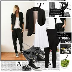 completely love ths look - from the converses to harem pants and blazer!