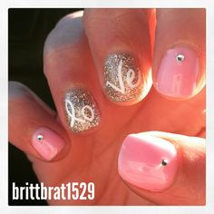 2015 Valentine's Day manicure gel nails design