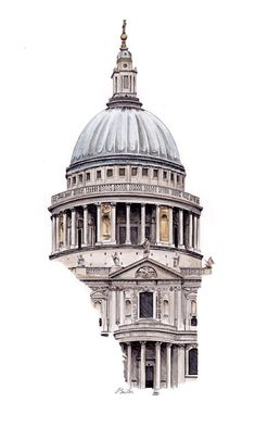 St Paul's Cathedral by Esther BeLer Wodrich. Watercolor, Pen and Ink Architecture Drawing Sketchbooks, Architecture Concept Drawings, Watercolor Architecture, Architecture Antique, Landscape Architecture, Architecture Design, Architecture Artists, Renaissance Architecture, Building Sketch