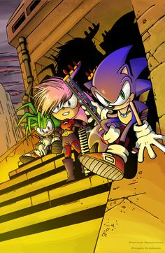 Sonic Underground, it is made up of sonic and his siblings, manic and sonia Sonic The Hedgehog, Shadow The Hedgehog, Sonic Y Amy, Sonic Underground, Nintendo Sega, Pokemon, Sonic And Shadow, Sonic Fan Art, Video Game Characters