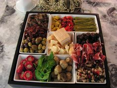 Antipasto Tray Olives, marinated vegetables, meats and cheeses. This is a traditional Italian appitizer. Antipasto Tray, Appetizer Salads, Wedding Buffet Food, Food Buffet, Wedding Menu, Marinated Vegetables, Meat And Cheese, Cheese Trays, Italian Meats