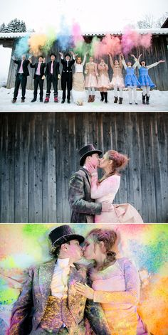 Color up! How fun would it be to do a Trass The dress session like this with the entire Wedding Party?!?!