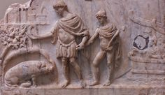 Roman marble relief, c. AD 140-150. Aeneas and his son Ascanius finding the white sow with thirty piglets, the omen which marks the location of the future Alba Longa, founded by Ascanius after thirty years. British Museum, London.