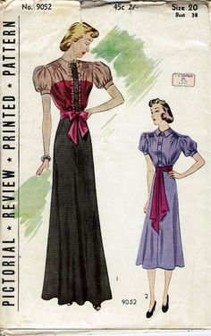 1930's Misses Evening Dress and Short Frock  Pictorial Review 9052  Size 20  Bust 38  Factory Folded on Etsy, $43.00