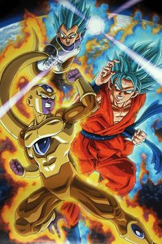 Super Saiyan God Vegeta Goku Vs Golden Frieza From Dragon Ball PosterPublished By Toei Animation Fuji TV Studio Bird